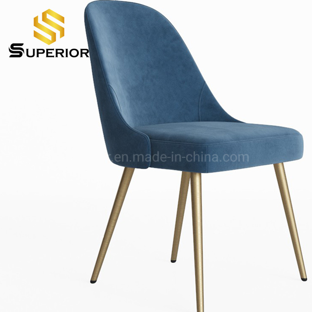 China Living Room Blue Fabric Metal Frame Gold Leg Dining Chairs China Modern Chair Tufted Dining Chair