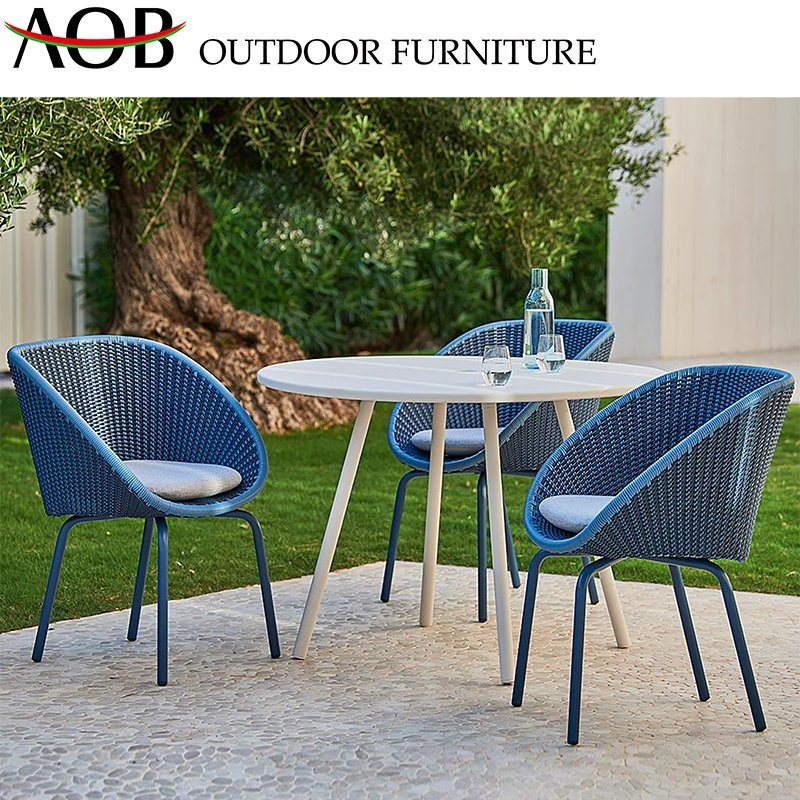 Chinese Outdoor Garden Furniture Rattan Wicker Leisure Balcony Poolside Outside Sets With Round Dining Table Blue Chair China Patio Furniture Living Room Furniture