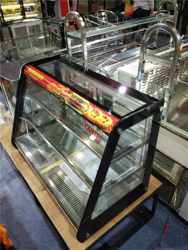 China Mini Warm Dessert Display Case Counter Top Mini Showcase Glass