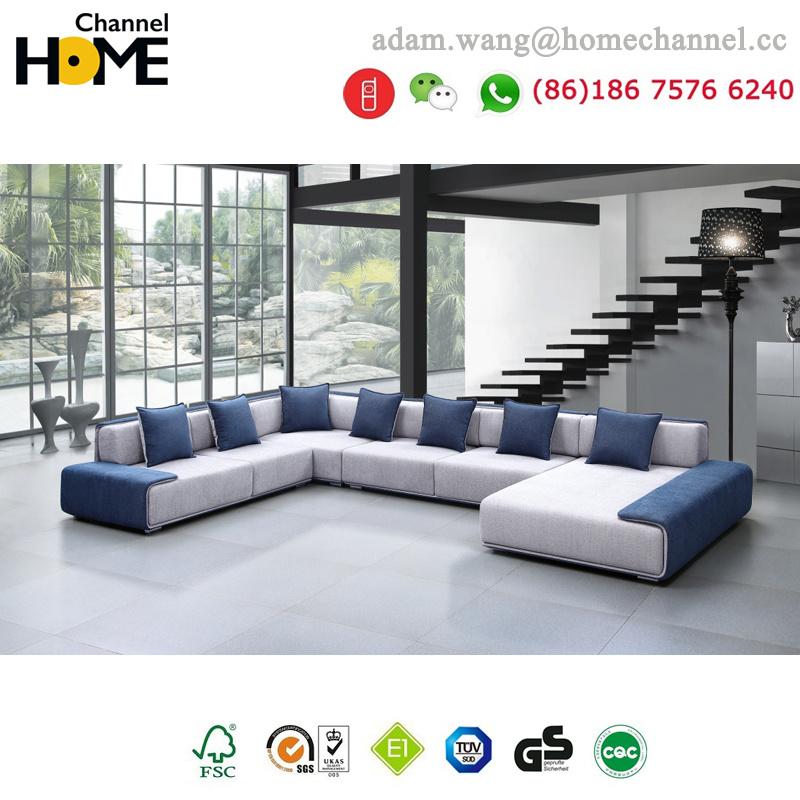 Modern European Design Living Room Furniture Large U Shaped Fabric Sofa  (HC R573)