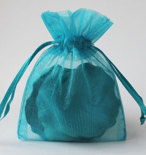 Drawstring Gift Pouches Made of Organza with Gold Foil Stamping
