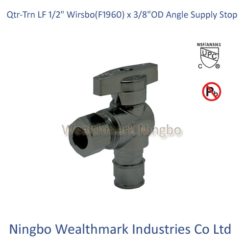 "Qtr-Trn Lead Free 1/2"" Wirsbo (F1960) X 3/8""Od Angle Supply Stop Valve"