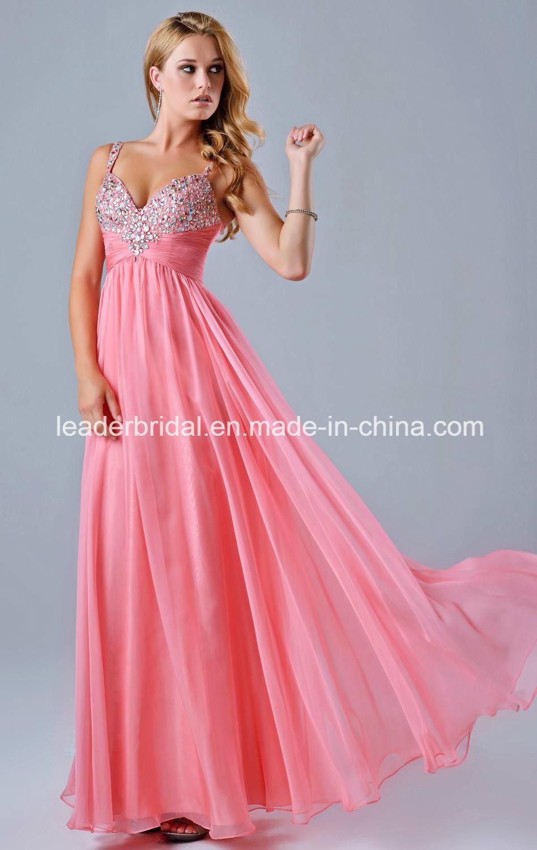 China Chiffon Party Dress Prom Gown Vestidos Diamante Beading ...