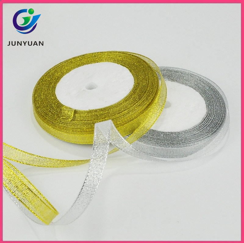 wholesale christmas ribbon gold and silver metallic decorative ribbon