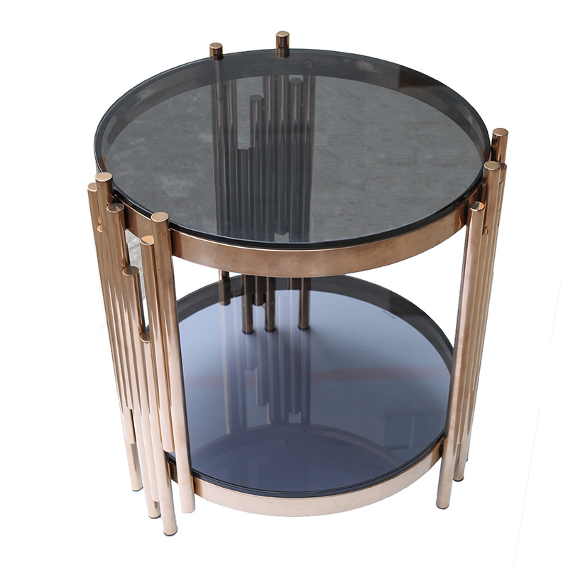 China Small Round Rose Gold Stainless Steel Coffee Table With Tempered Glass Top Photos Pictures Made In China Com