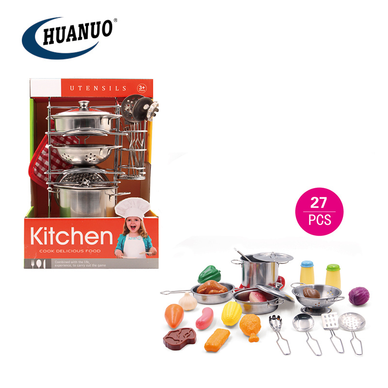 China Kids Pretend Play Toys Stainless Steel Kitchen Set Cooking