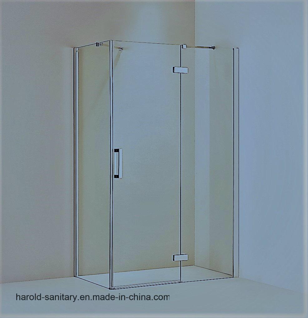 China Brass Hinge Frameless Glass Shower Door With Support Bar