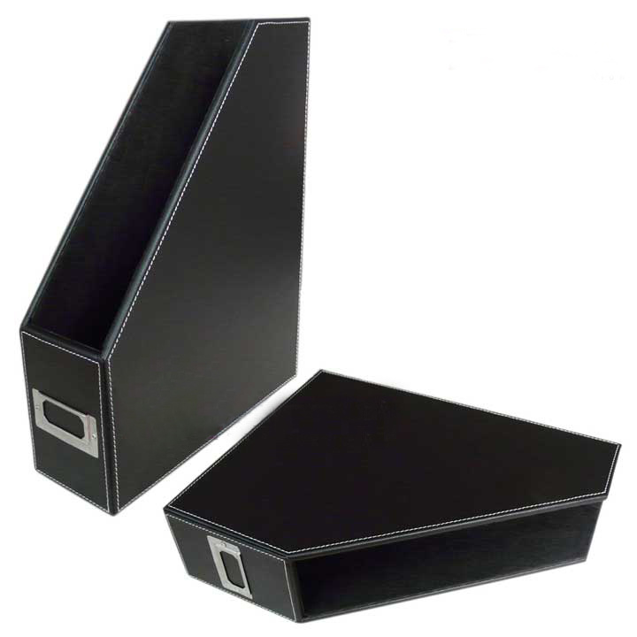 China High Quality Pu Leather Desktop File Holder