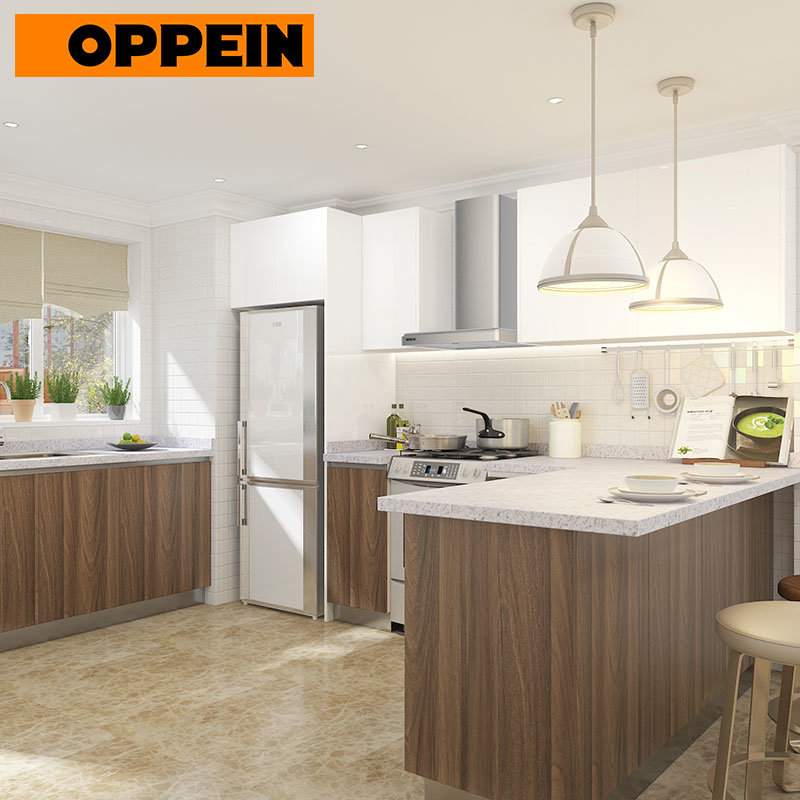 China Oppein Modular Polymer Kitchen Cabinet with Flat Panel ...