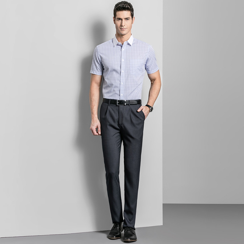 China Easy Care Straight Mens Wedding Trousers Business Formal Men