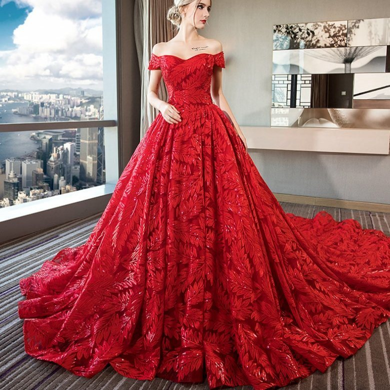 China Red Wedding Dress Lace Wine Bridal Ball Gown Drop