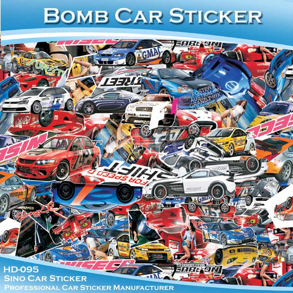 China hd 95 good pvc material car decoration bomb car sticker china car sticker bomb car sticker