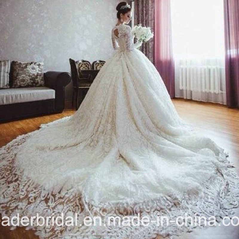 China Full Lace Bridal Ball Gowns Luxury Long Sleeves Muslim Wedding ...