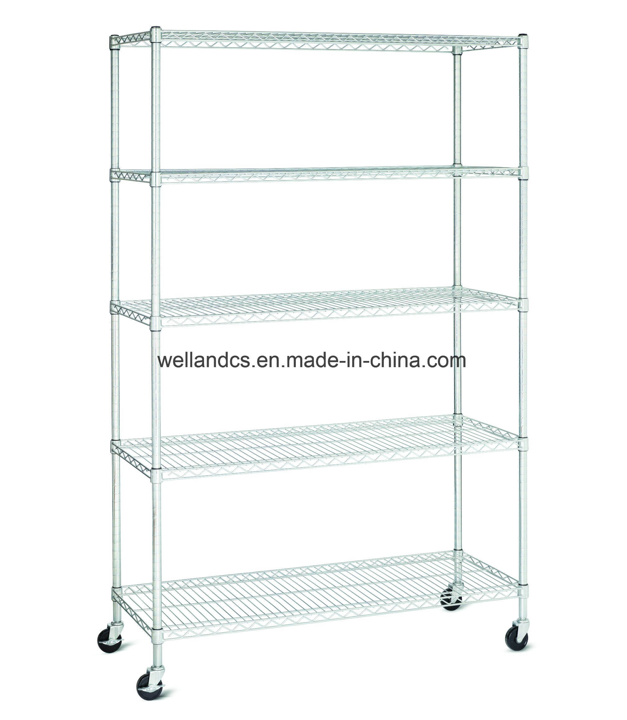 "14/""d x 24/""w NSF Metal Chrome Wire Shelving Rack with 5 Shelves"