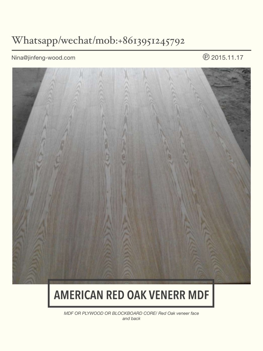 MID East Market Red Oak Veneer Board Natural MDF Plywwod Blockbaord pictures & photos