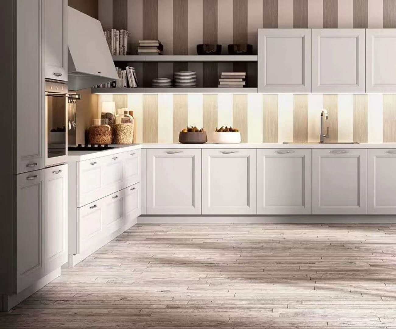 China White Shaker Luxury Modular Kitchen Cabinets Solid Wood Direct ...