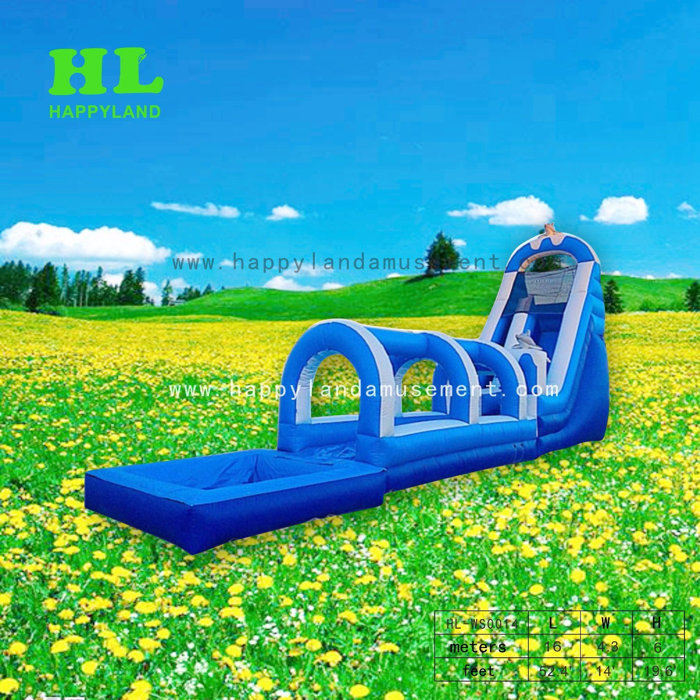 [Hot Item] Inflatable Customized Buler Style Dolphin Water Slide with Pool