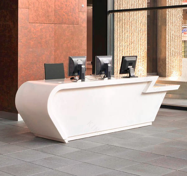 Modern White Solid Surface Office Furniture Counter