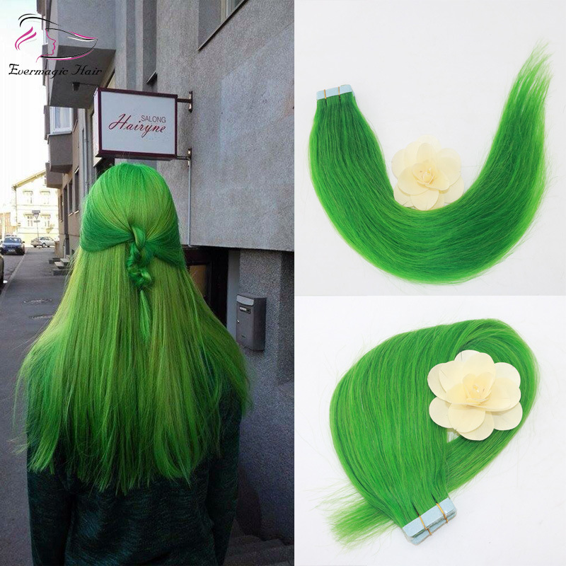 China Color Jade Green Tape In Hair Extensions Pu Tape In Remy