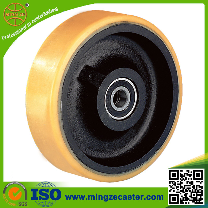 10inch Heavy Duty Ptmeg Polyurethane Cast Iron Wheel  Ball Bearing