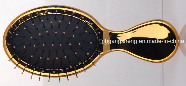 Electroplating Hair Brush with Rubber Pad and Nylon Pin