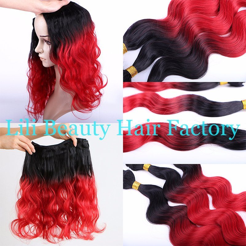 China Lili Beauty Black T Red Ombre Body Wave Human Hair Weaving