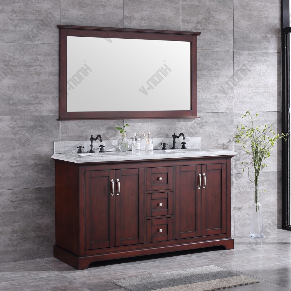 China 60inch Mahogany Double Sinks