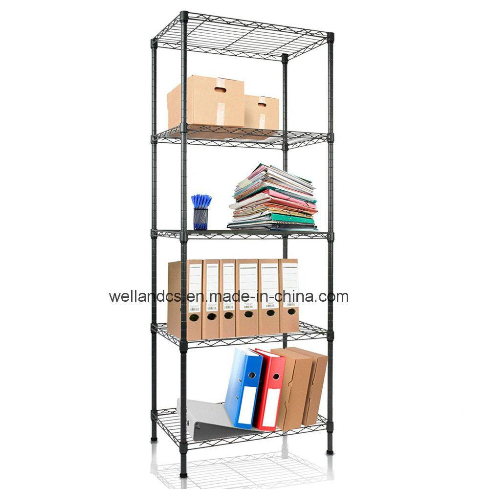 China Small Size 5 Shelf Black Open Metal Office File Display Storage Rack Shelving Unit