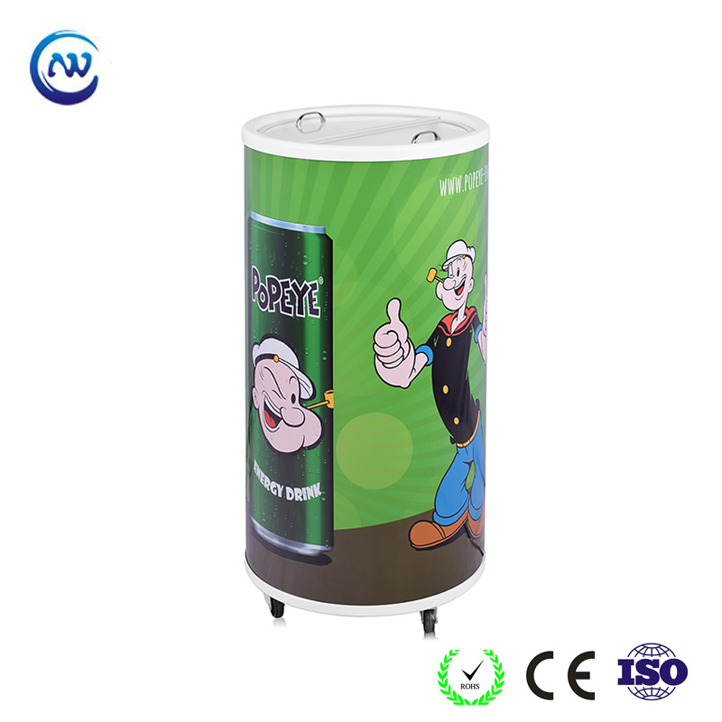 China 2017 Promotional Round Barrel Beverage Cooler Bbq Can Sc 75t Refrigerator Freezer