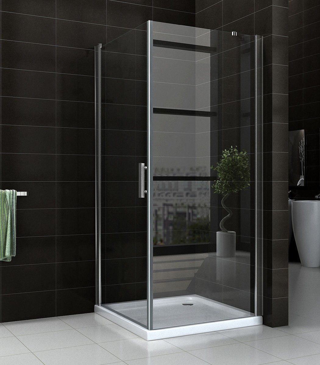 China Bathroom Tempered Glass Shower Screen Double Pivot