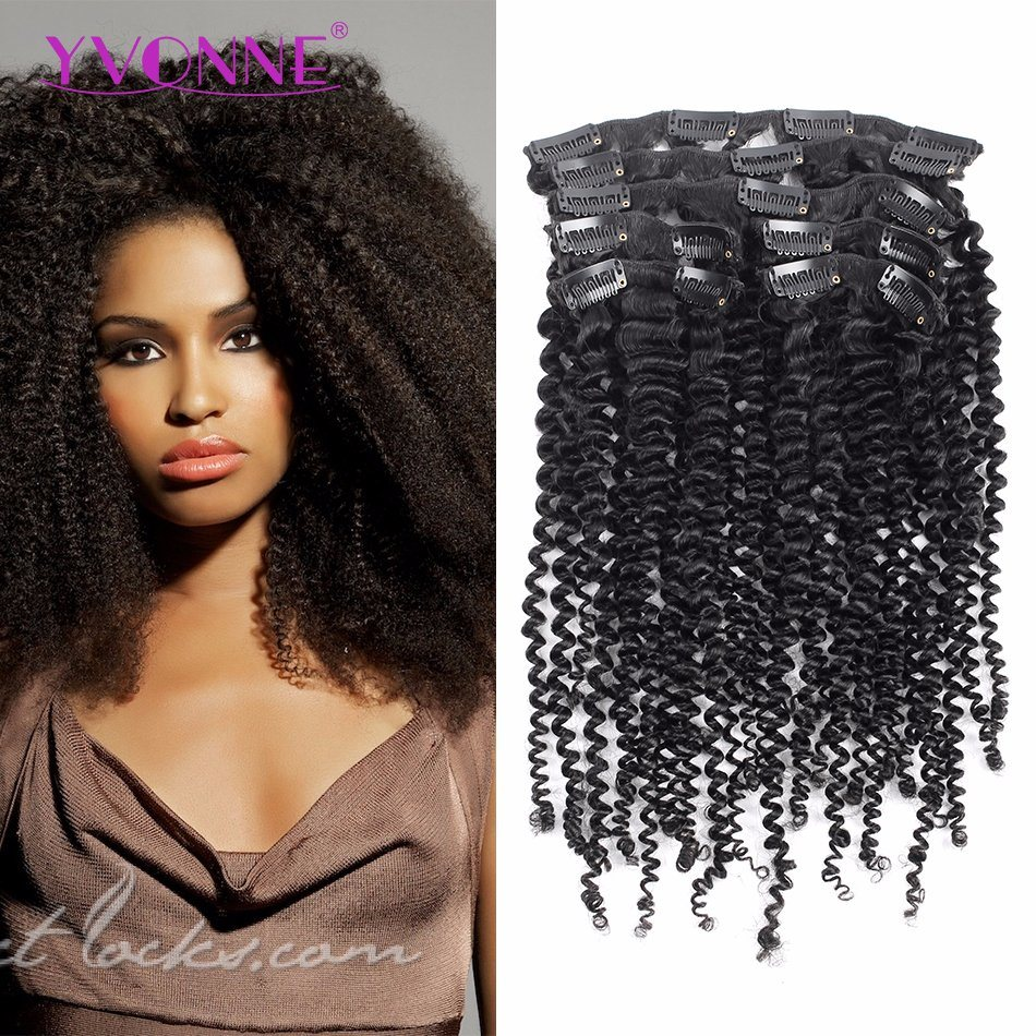 China Brazilian Virgin Hair Kinky Curly Clip In Hair Extension