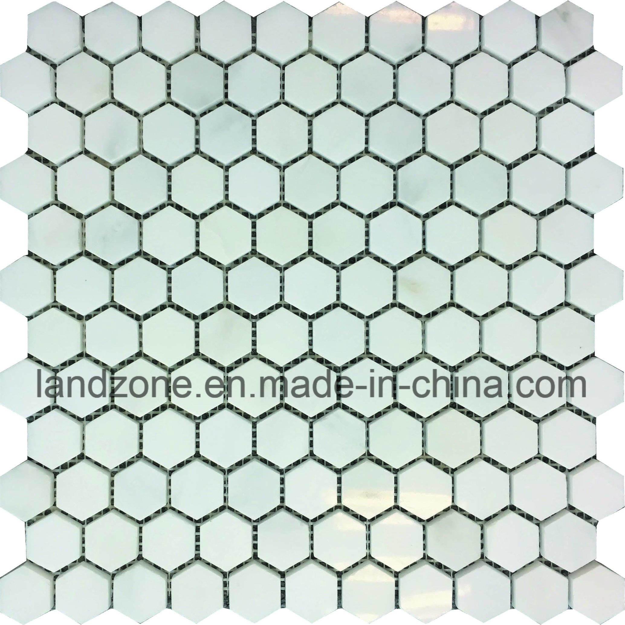 China Hexagon Bianco Carrara White Marble Mosaic Tile for Bathroom ...