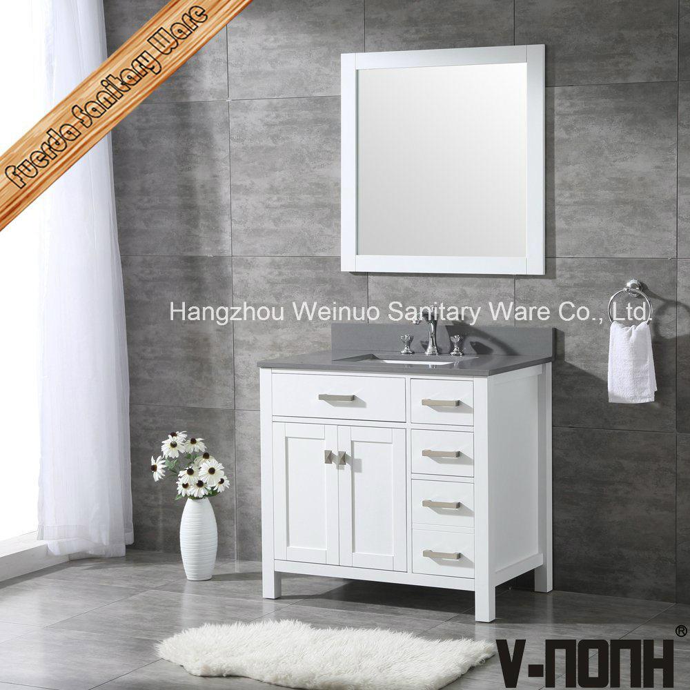 reputable site 70cba 79d24 [Hot Item] Modern White Finish Solid Wood Hotel Bathroom Vanity