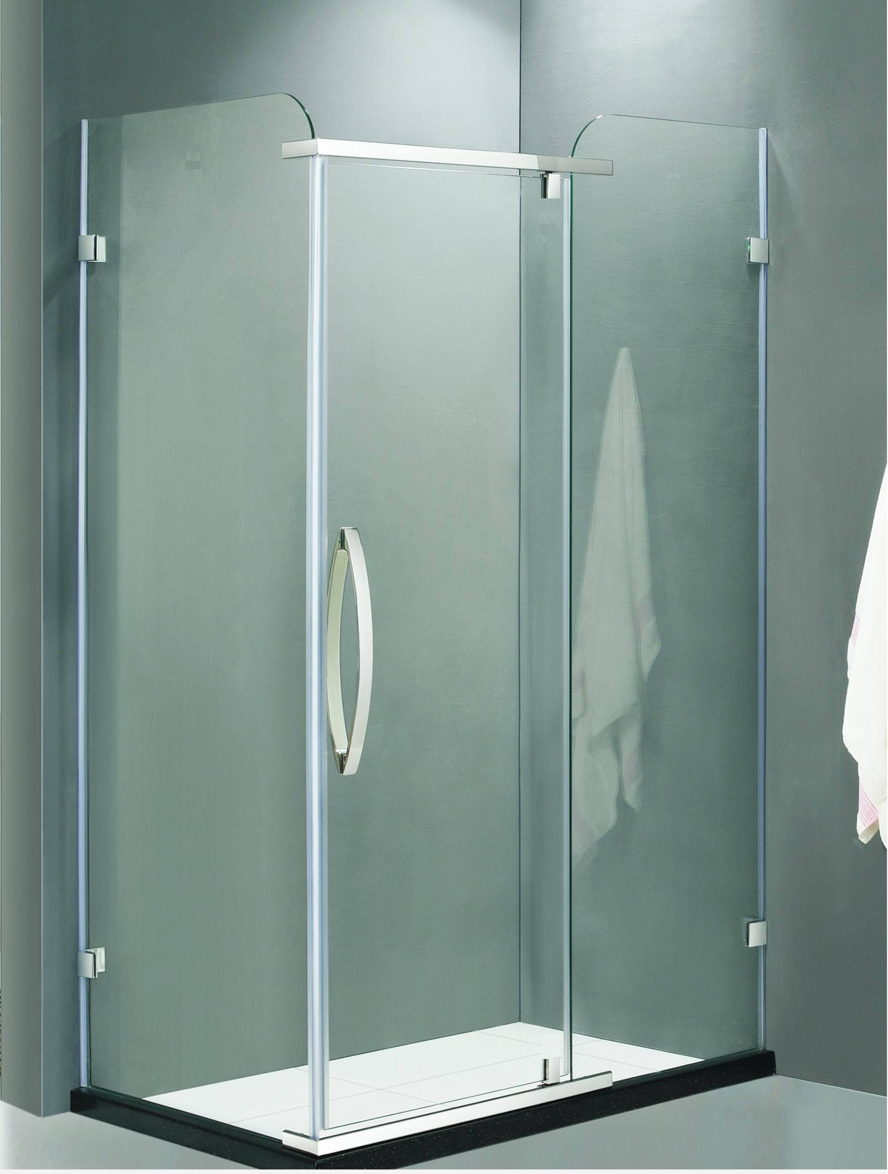 China Project Frameless L Shape Stainless Steel Shower