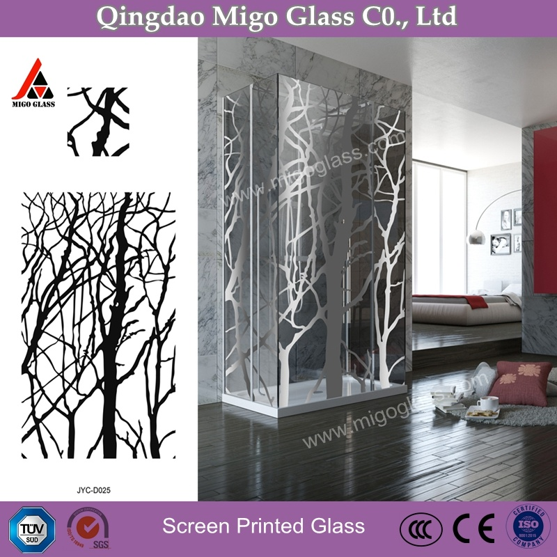 [Hot Item] Decorative Screen Printed Glass Shower Room, Tempered Shower  Glass Panels