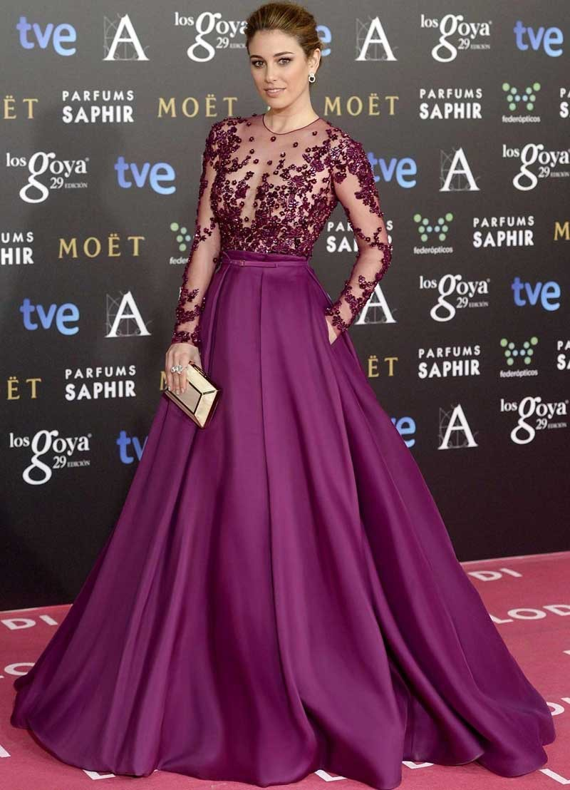 China Long Sleeve Celebrity Dresses Wine Red Prom Gown Evening ...