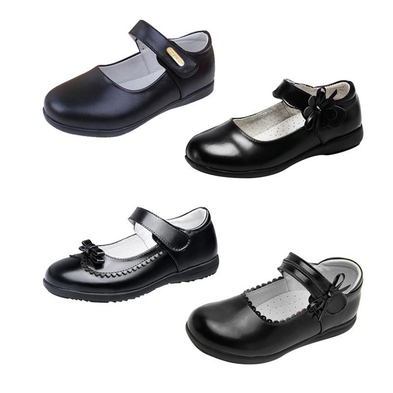 Black School Girls Leather Dress Shoes