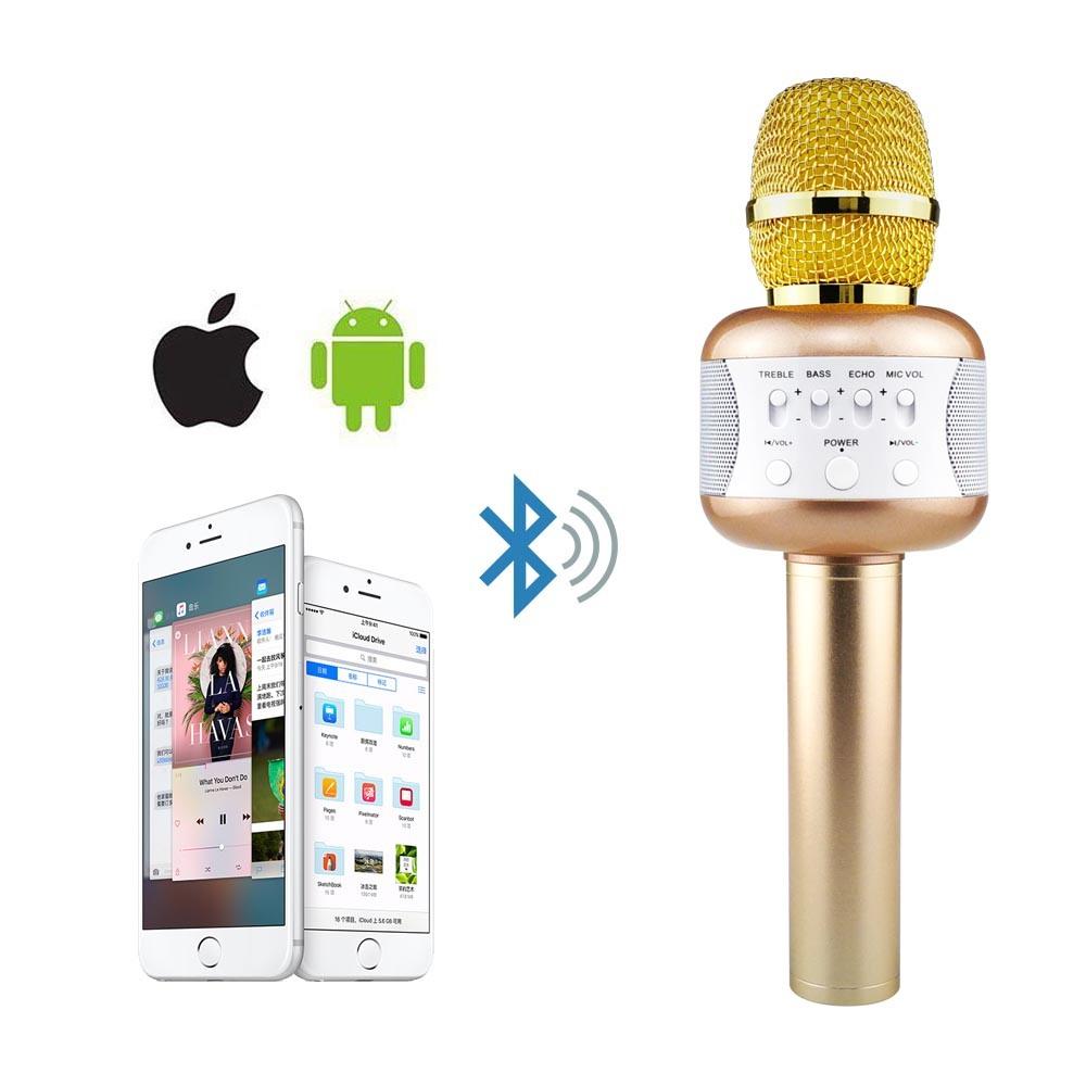China Wireless Karaoke Microphone E106 Portable Bluetooth Speaker Mic Hifi Sing A Song Mikrofon With Disco Light Phone Holder Ktv Music Device