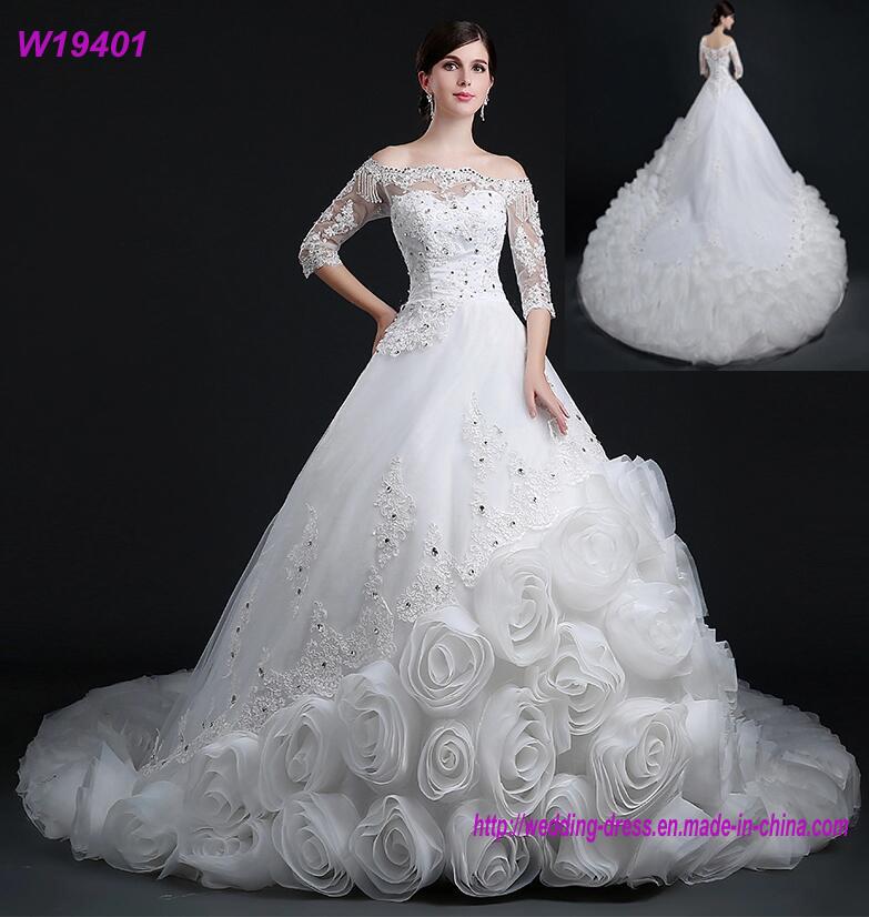 China Ruffles Rose Ruched Elegant Bridal Gowns High End Wedding ...