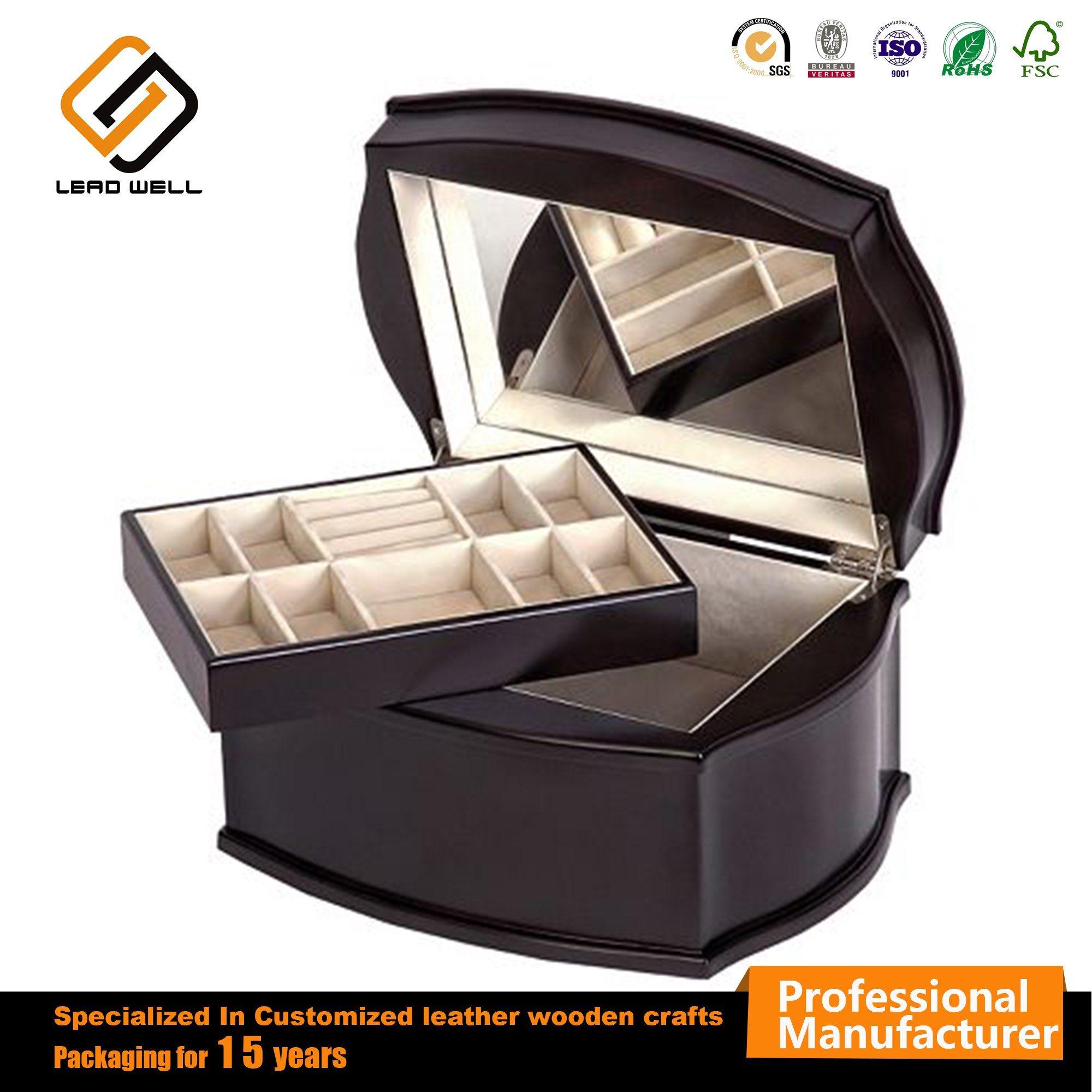 China Luxury Packaging Cosmetics Black Storage Wood Crafts Jewelry Box