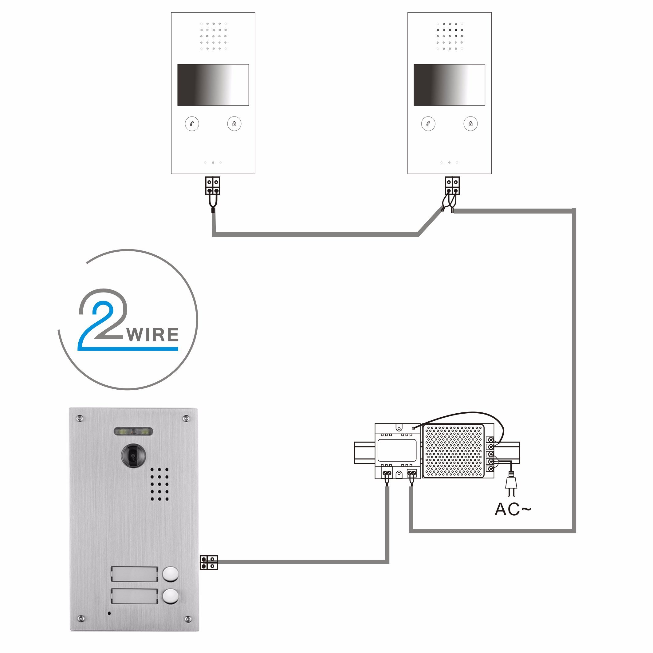 4 3 inch home security video intercom system with 2 monitor