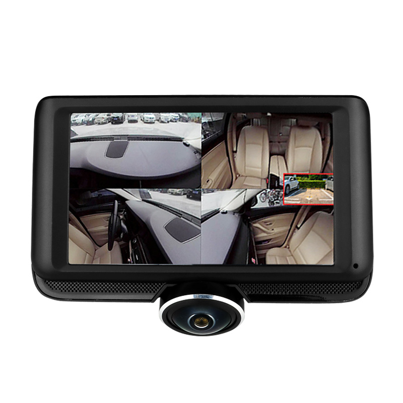 "360° Panoramic Car DVR Camera 5.0/"" 1080P Video Recorder Rearview Mirror Dash Cam"
