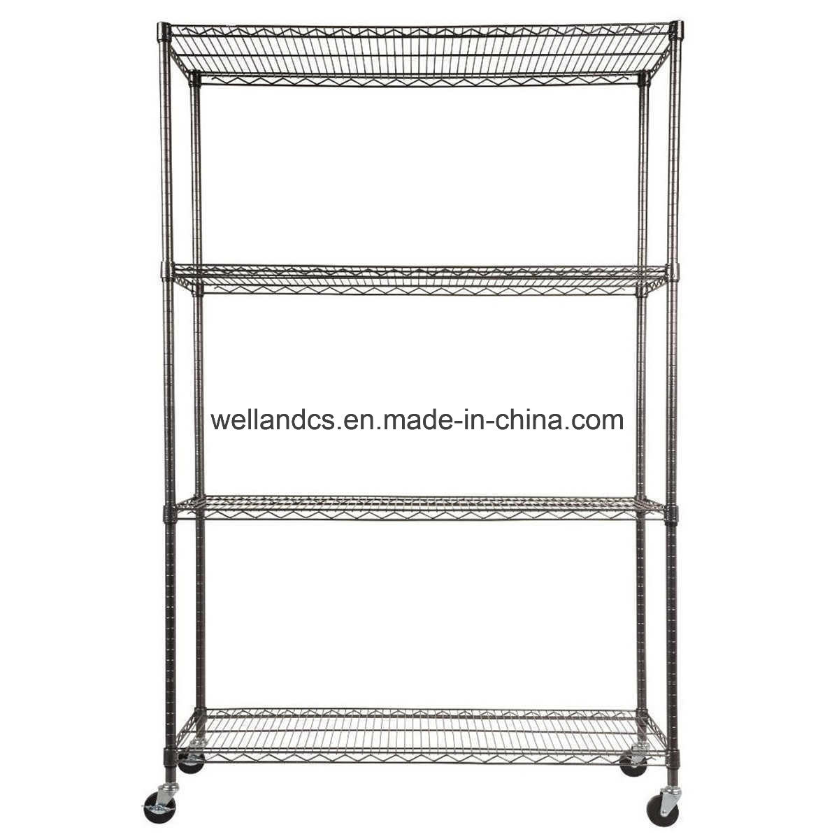 Hot Item All Purpose 4 Tiers Commercial Heavy Duty Steel Wire Shelving Starter Kit