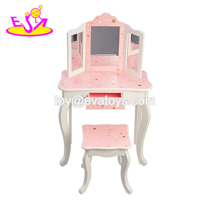 China Whole Wooden Kids Dressing Table With Mirror W08h094 Pink