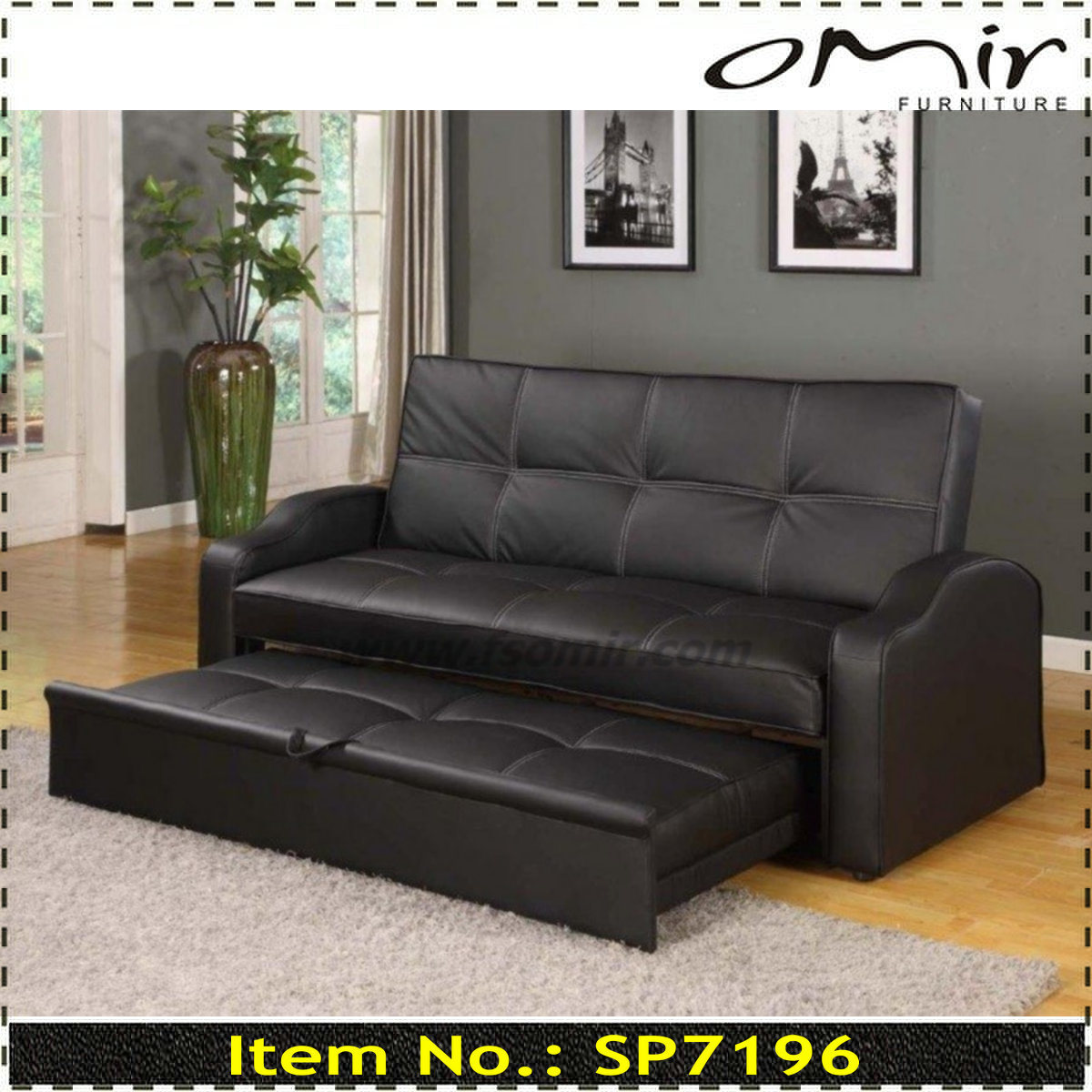 China 3 Seat Leather Pull Out Sofa Bed