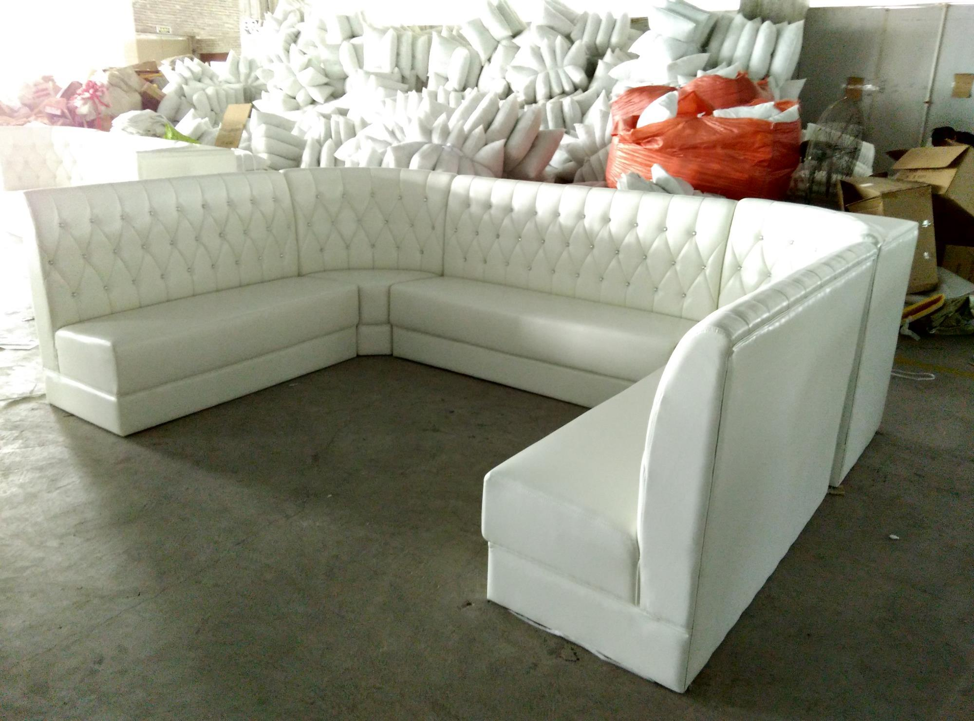China Customized U Shape Restaurant Sofa Booth Seating in White
