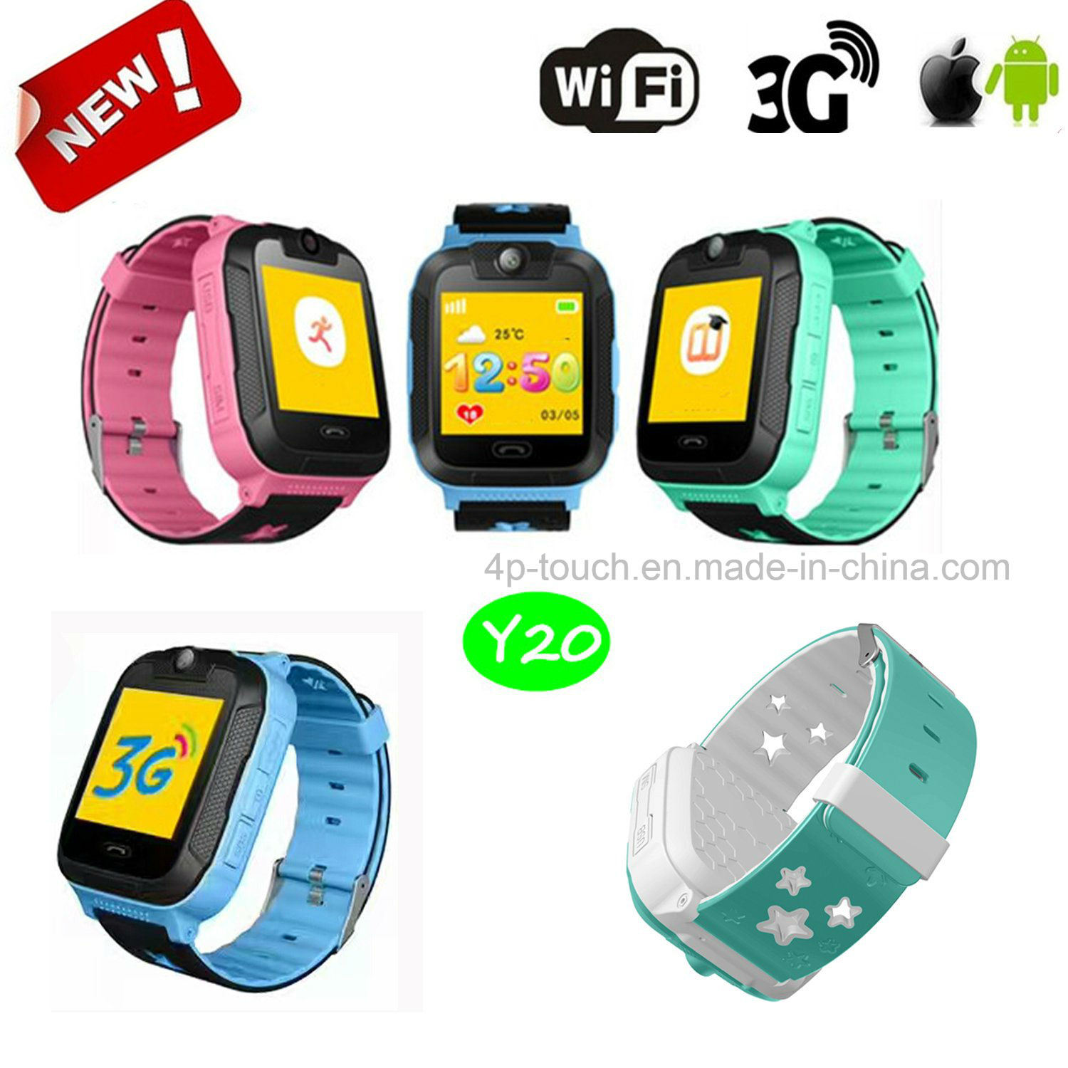 New Developed 3G Kids GPS Tracker Watch with Camera 3.0 Y20