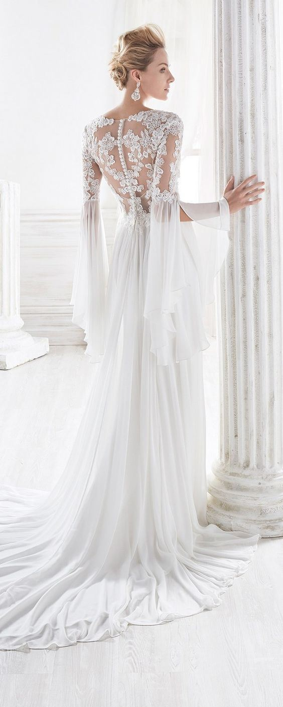 China Classic Wedding Dress Tulle Lace Long Trumpet Sleeves Bridal ...