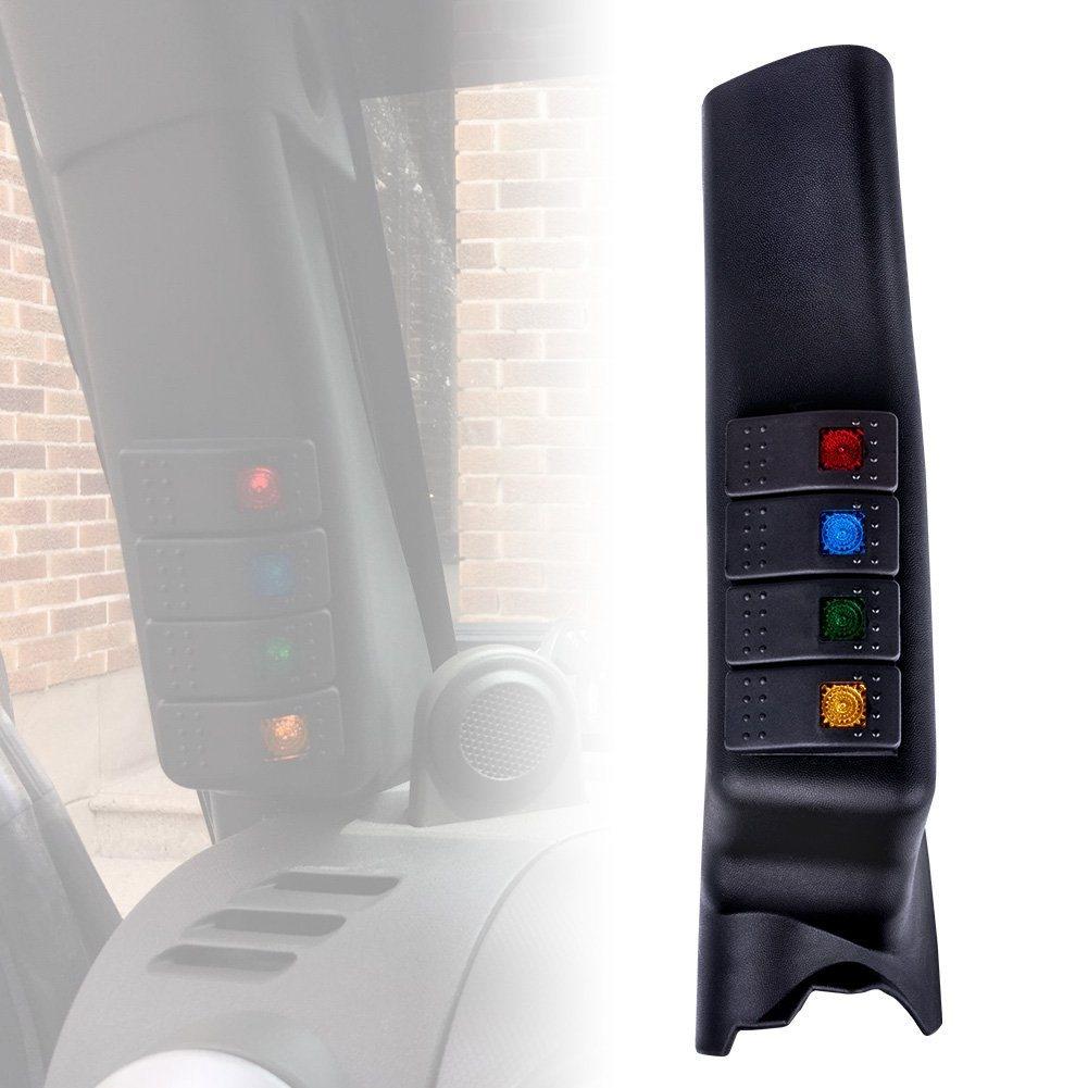 China Left Side A Pillar 4 Switch Pod Panel Source Control Jeep Wrangler Jk Gauge System Fit For Jku 2007 2017 Blue Back Light