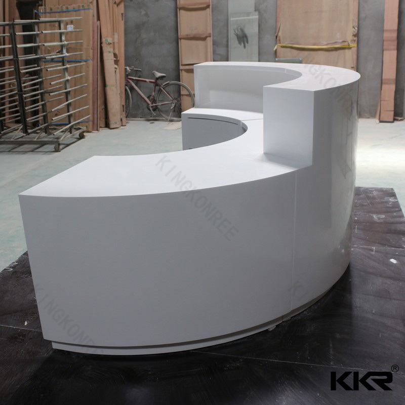 Kkr Small White Solid Surface Salon Modern Reception Desk 180329